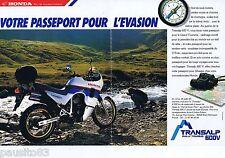 PUBLICITE ADVERTISING 075  1988  TRANSALP rally touring 600v moto HONDA (2p