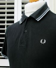 Fred Perry M1200 Black Twin Tipped Pique Polo - S/M - Ska Mod Scooter Vintage