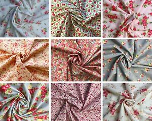 ROSE & HUBBLE Floral 100% Cotton Fabric Poplin Vintage Ditsy Roses SPECIAL OFFER