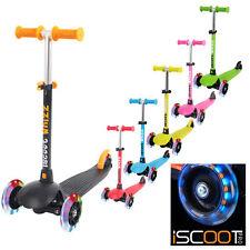 Iscoot Whizz Mini Scooter inclinación Patinete T-Bar 3 rueda Kick Board RUEDAS LED