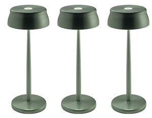 Set o 3 Zafferano Italia Sister Light Table Lamp LED Rechargeable DimmableGreen
