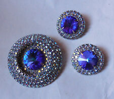 Vintage Bright Peacock Blue Rivoli AB Rhinestone Pin Brooch & Earrings