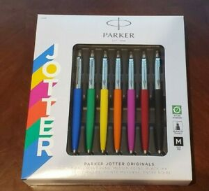 7 PARKER JOTTER ORIGINAL BALLPOINT PEN SET MEDIUM BLACK INK IN GIFT BOX FRANCE