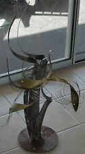 Mid Century Steel & Brass Curtis Jere Three Swimming Fish Metal Sculpture Signed