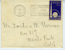 1939 US Cover w/ Royal Train R.P.O. and Railway Mail Service Cancel