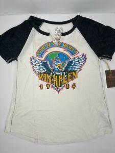 TRUNK LTD Van Halen Women's T-Shirt V-Neck Raglan Graphic White Tour 1984