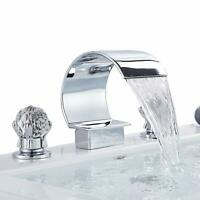 Chrome Bathroom Basin Faucet Waterfall 3 Hole 2 Handle Crystal Handle Mixer Tap