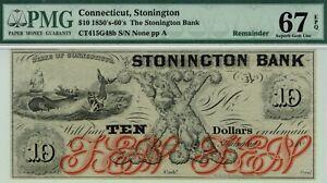 $10 Stonington Bank, Connecticut. PMG 67 EPQ Superb Gem Uncirculated.  Whale.