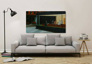 Nighthawks Edward Hopper Oil Painting Hand-Painted on Canvas 24x40