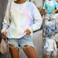 Women Tie-Dye Print Gradient O-Neck Pullover Blouse Long Sleeve Sweatshirt Tops