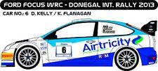 DECALS 1/43 FORD FOCUS WRC - #6 - KELLY - DONEGAL INTER RALLY 2013 - D43221