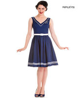 Hell Bunny Nautical Sailor Pin Up Mid Length 50s Dress ARIEL Navy Blue All Sizes