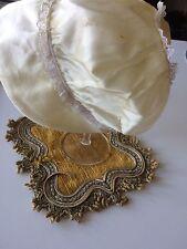 Vtg Doll Bonnet Baby Satin Rayon Cream Restyle Embellish Costume Clothing DIY