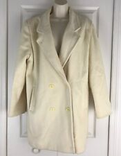 Forecaster of Boston Womens Wool Coat Lined Double Breasted Ivory Cream 15/16