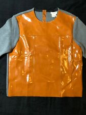 MARNI for H&M Leather Front And Grey Cotton Knit Womens Top, Size EUR 40 - UK 12