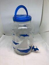 New listing Vtg.Sun Tea Ice Glass Jug Gallon Spigot Blue White Nautical Sail Boats Dispenser