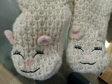 Jane And Bleecker Slipper Socks 1 Pair white cat kitty warm cuddly pink used