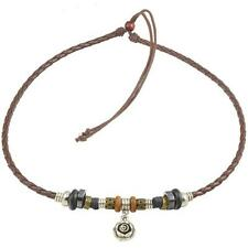 Ethnic Jewelry Adjustable Tribal Hemp Brown Leather Necklace Choker Men Women #4
