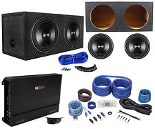 "2 Rockford Fosgate P3D4-12 12"" 2400W Subwoofers+Box+MB Quart Amplifier+Amp Kit"