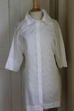 Krista Larson Art-To-Wear Feminine White Cotton Embroidered Eyelet Tunic Top O/S