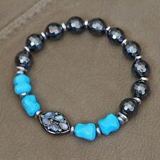 U&C Sundance Rainbow Moonstone Diamond Pave Turquoise Hematite Silver Bracelet