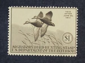 CKStamps: US Federal Duck Stamps Collection Scott#RW7 $1 Mint H OG Crease