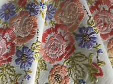 BEAUTIFUL VINTAGE HAND EMBROIDERED TABLECLOTH~RIBBONED FLORAL DISPLAYS