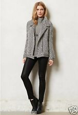 NEW Anthropologie black white Static Stripe Moto Jacket wool blend zipper M