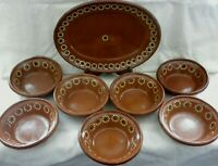 "Tlaquepaque Mexico Clay Redware 1 Platter 12.75"" & 7 Soup Bowls 7"" Nice!! w2s8"