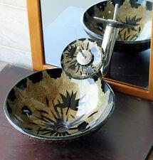Bathroom Artistic Glass Vessel Vanity Sink Matching WaterfallFaucet 9136M4