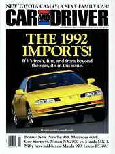 Car and Driver Magazine November 1991 Honda Prelude, Mazda 929, Toyota Camry