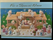 VTG Ruth J Morehead Gibson Greeting Card 1993 Holly Babes Nativity Religious