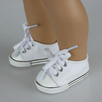 Cute Handmade Canvas White Shoes for 18inch Girl Doll Baby Kids Toy Kit