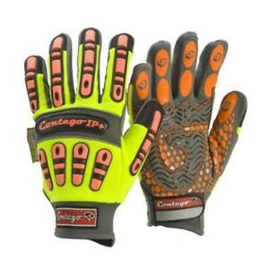 Frontier Contego Impact Protection Hi Vis Mechanics Work Gloves, (Size M & L)