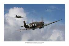 "WWII WW2 RAAF MkV Spitfire / G4M Betty Aviation Art Photo Print - 12"" X 18"""