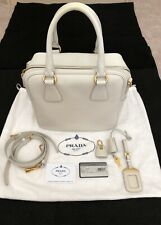 Prada White(Talco) Saffiano Lux Leather Zip Around Tote/Crossbody/Shoulder Bag