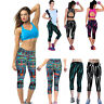 NEW Women's High Waist Fitness Yoga Sport Pants Printed Stretch Cropped Legging