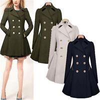 Womens Winter Lapel Stylish Long Parka Coat Trench Ladies Fashion Outwear Jacket