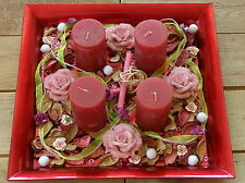 Adventskranz / Adventsteller, Kerzenteller Rot incl. Kerzen & Deko