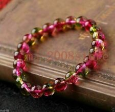 Beads Stretchy Bracelet 7.5'' h0 8mm Natural Watermelon Tourmaline Gemstone