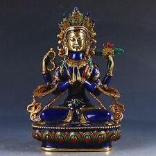 Exquisite Cloisonne Handwork Carved Four-armed Avalokitesvara Bidhisattva Statue