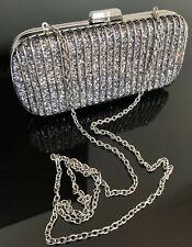 Bcbg Maxazria Cage Clutch Silver Glitter Small Bag Purse $178