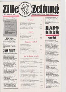 Zille Zeitung ,Zillestube im Hotel Stadt Berlin,DDR,von 1989,Mark-Preise