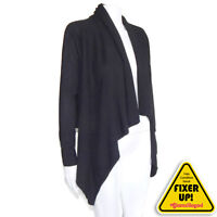 LORD & TAYLOR 100% CASHMERE  Cascading High-low Cardigan Black Medium 552