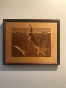 """Hudson River Inlay Nelson Wood Marquetry Orcas Killer Whales Wall Art 13"""" x 16"""""""