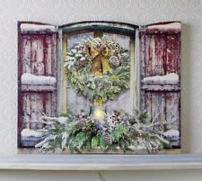 Red Shutter Window w wreath candle Lighted Radiance Picture w Timer x47307 NEW