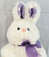 "Dan Dee Collectors Choice White Bunny Plush Polka Dot Ears Purple Bow 15"" HTF"