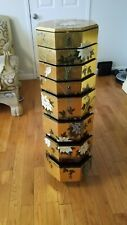 Chinoisere 8-Drawer Stand Gold Leaf Hand painted