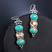 Boho Vintage Tibetan 925 Silver Turquoise Dangle Drop Hook Earring Women Jewelry