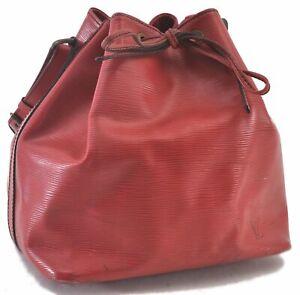 Authentic Louis Vuitton Epi Petit Noe Shoulder Bag Red M44107 LV C2736